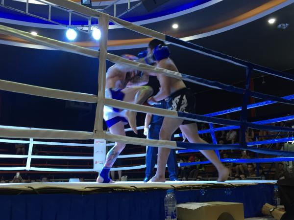 Knock out shot at Chiang Mai Boxing Stadium