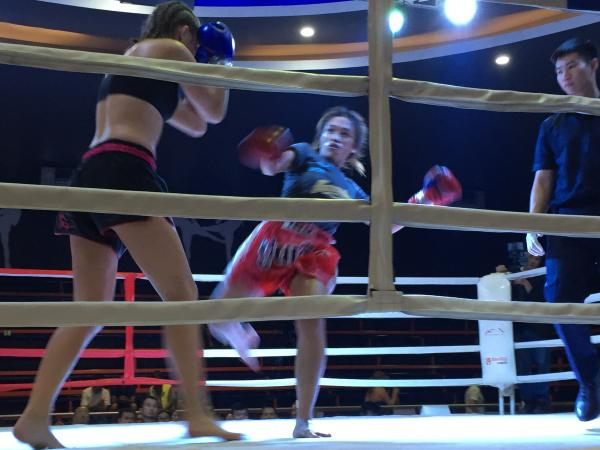 Wind up kick at Chiang Mai Boxing Stadium
