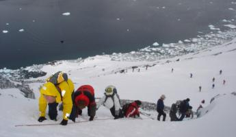 Climbing the snowy, Antarctic mountains