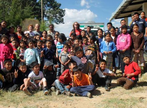 Tecnico Chixot Students and Staff outside the schooll