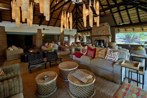 Covered guest lounge area at Mfuwe Lodge