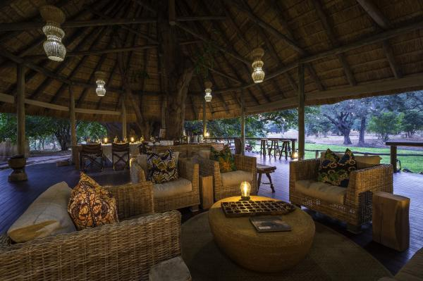 Guest lounge under thatched roof