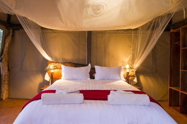 King bed in raised tents