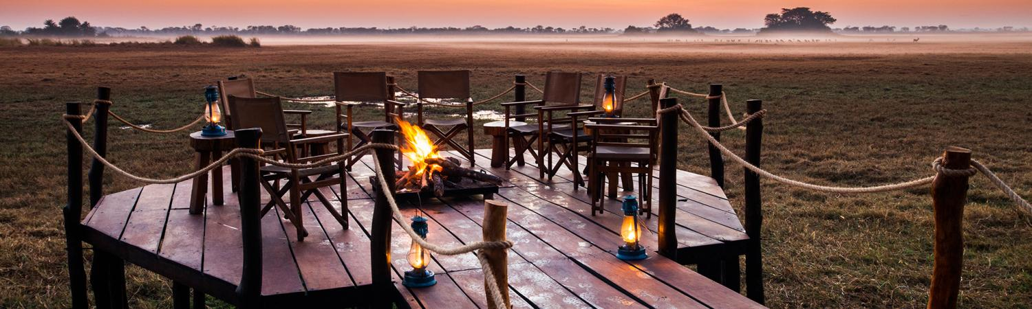Open fire with a view to the Busanga Plains