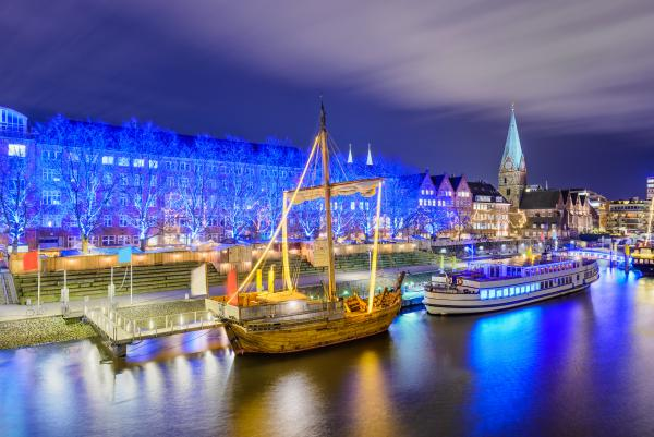 Riverside of Bremen, Germany during Christmas