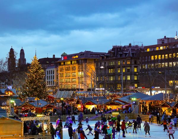 Ice skating at a Christmas Market in Zurich