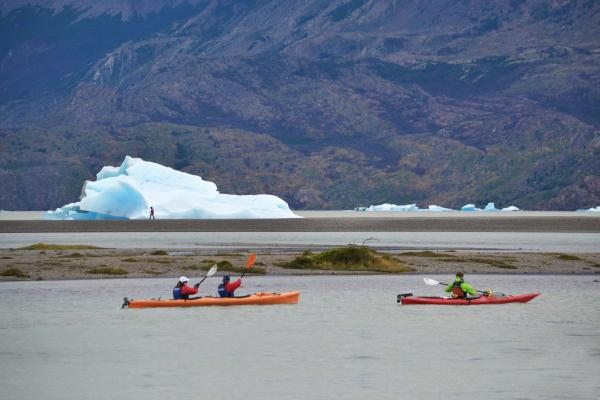 Kayaking in front of Grey Glacier