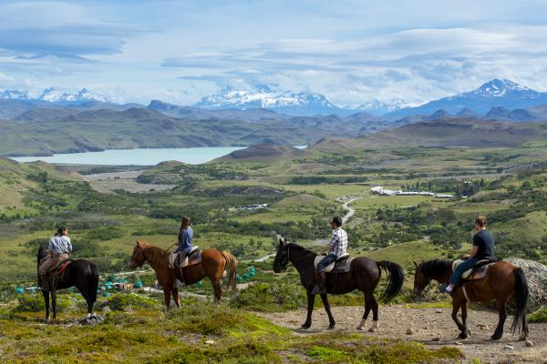 Horseback riding through Torres del Paine