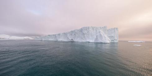 View of an iceberg at dawn