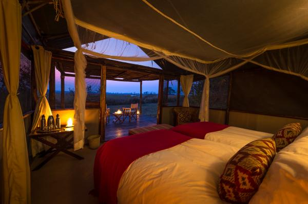 Tent interior at sunset
