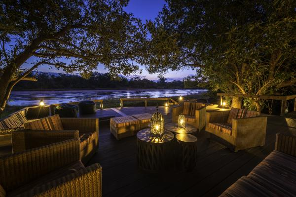 Outdoor seating area overlooking the river