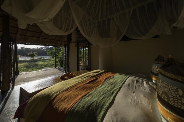 Bedroom with mosquito netting