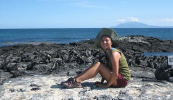 Hanging out with a few marine iguanas in the Galapagos