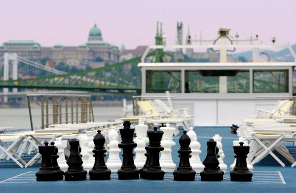 Giant chess set on the MS Amadagio