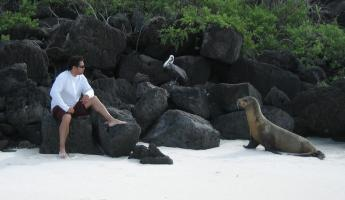 Husband catching up with the locals