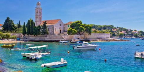 Turquoise sea of Hvar island