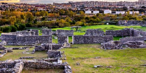 Salona ruins with city of Split in background