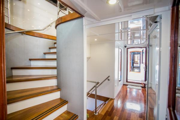 Elegant staircase on the Captain Bota