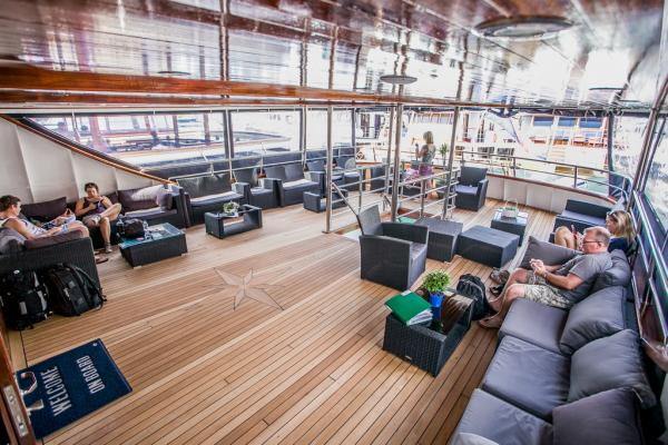 Relaxing aboard the Captain Bota