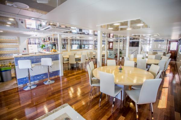 Salon-restaurant on the Captain Bota