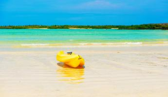 Kayak on a beach in the galapagos
