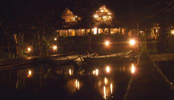 Jungle lodge at night