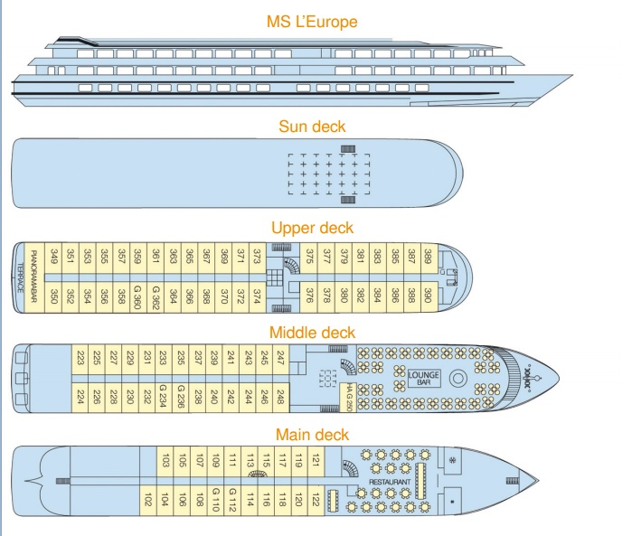 MS L'Europe's Deck Plan