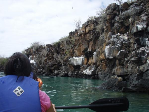 Kayaking along the rocks