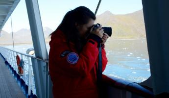 Photographing the glacier.