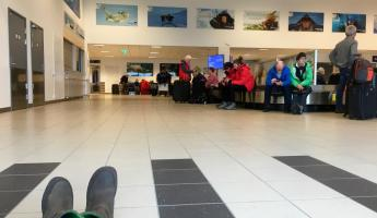 Waiting for our bags in Longyearbyen.