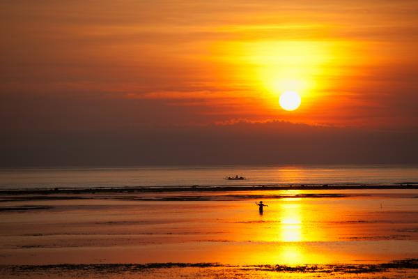 Sunset over Sanur beach