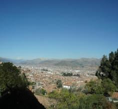 Looking down on Cusco's valley