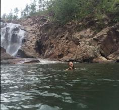 Taking a dip at Big Rock Falls