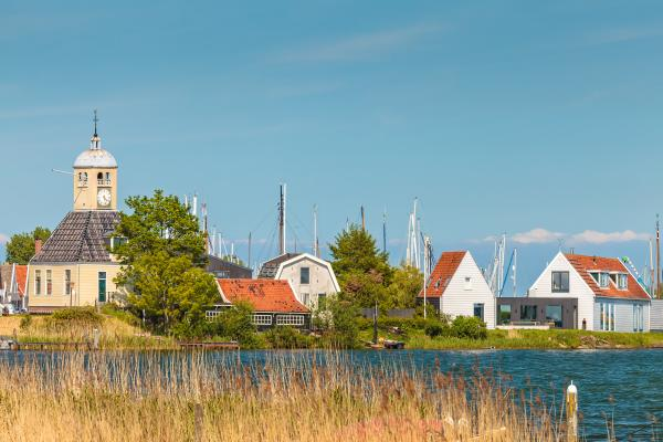 Traditional wooden houses in Durgerdam on IJsselmeer Lake
