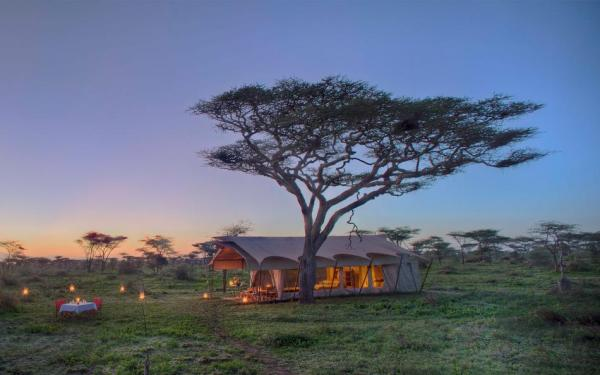Exterior of the tents at &Beyond Serengeti Under Canvas