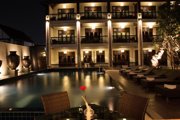 Pool and exterior at night