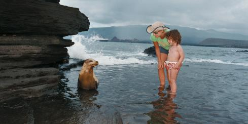 Mother and child getting close to a sea lion in the Galapagos