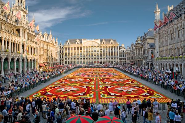 Brussels Central Square with flower carpet