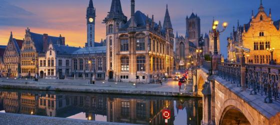 Church and Arch Bridge in Ghent, Belgium