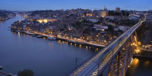 Charming city of Porto at night