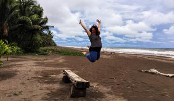 Obligatory jumping photo at Turtle Beach