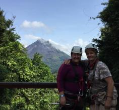 Mom and I are ready to zip line at Arenal!