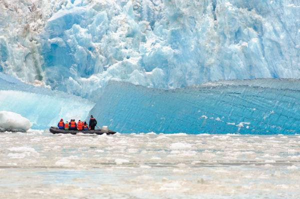 Zodiac takes travelers out to a glacier