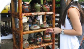 Catarina Lookout, some pottery on display