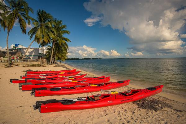 Kayaks on the beach in Cuba