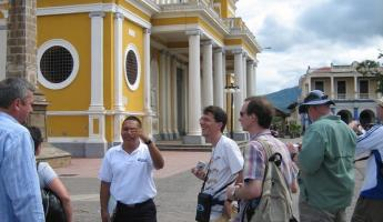 Our guide in the main plaza in Granada