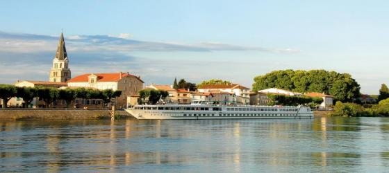 MS Mistral sailing along the Rhone River