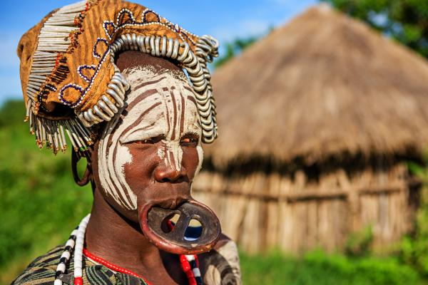 Mursi tribe women wear lip plates