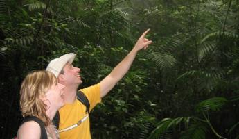 Spotting a bird, Mombacho cloudforest