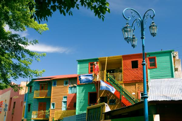 Colorful buildings in the La Boca neighborhood in Buenos Aires